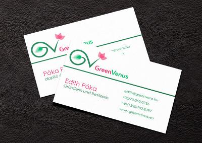 GreenVenus névjegykártya tervezés